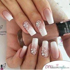 Ombre with Floral Decor - Natural Wedding Nails for Bride - nails art Natural Wedding Nails, Simple Wedding Nails, Wedding Nails Design, Natural Nails, Nail Wedding, Weding Nails, Wedding Card, Wedding Favors, Nail Polish