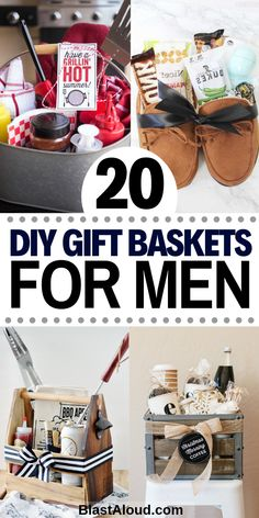 20 Creative items to put in a guys gift basket. Create customized gift baskets for him including a birthday basket for him. With these manly gift baskets ideas you can spoil the man in your life and give him a gift he will love! #giftsforhim #giftsformen #giftbaskets