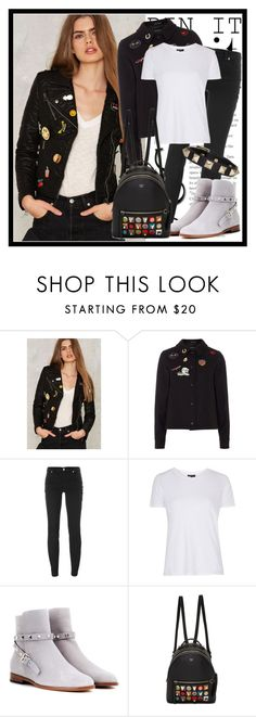 """""""367. Pins"""" by diana97-i ❤ liked on Polyvore featuring Glamorous, Gloverall, Versus, Topshop, Valentino, Fendi, blackandwhite and pins"""