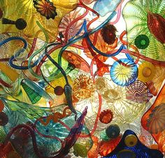 """Museum of Glass in Tacoma, Washington  artist - Dale Chihuly  displayed in overhead """"windows"""""""