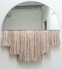 Ben & Aja Blanc; Glass and, Silk, Mohair and Wool 'Half Moon' Wall Mirror, 2015.