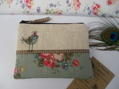 Handmade Shabby Chic Coin Purse Makeup bag, Cath Kidston Green Bunch fabric, Hen
