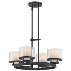 Fusion 4-Light Chandelier in Biscayne Bronze with Clear and Frosted