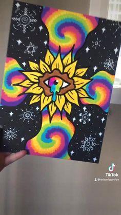 Easy Canvas Art, Cute Canvas Paintings, Canvas Painting Tutorials, Small Canvas Art, Mini Canvas Art, Hippie Drawing, Hippie Painting, Trippy Painting, Indie Drawings