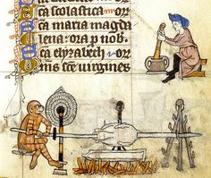 Monkey at roasting Spit--man with Mortar and Pestle. Netherlands 14th cent. margin detail. Stowe 17. Brit Lib.