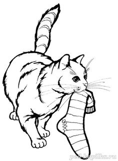 Some cats steal socks and gloves and underwear and toys and. Dog Coloring Page, Free Coloring Sheets, Cute Coloring Pages, Free Printable Coloring Pages, Coloring Pages For Kids, Coloring Books, Line Art Vector, Cat Quilt, Cat Colors