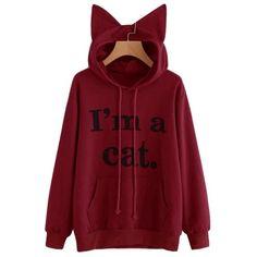 Cat long sleeve hoodie sweatshirt hooded pullover plus size tracksuit warm tops vestidos femininos Cool Hoodies, Sweat Shirt, Printed Sweatshirts, Hooded Sweatshirts, Sweat Cool, Harajuku, Prints, Pullover, Sweatpants Outfit