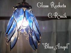 「天使の青いらんぷ」 ステンドグラス 照明 ランプ ペンダント