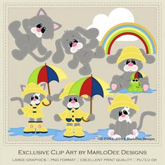 It's Raining Cats and Dogs Grey set - MarloDee Designs Clip Art
