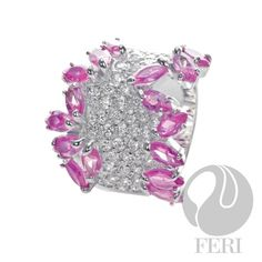 Ballerina Slippers Ring - fine sterling silver, micron natural rhodium, set with: AAA white and pink cubic zirconia, scrumptious! Sterling Silver Pendants, 925 Silver, Ballerina Slippers, Jewelry Design, Designer Jewelry, Pink Ring, Breast Cancer Awareness, Heart Ring, Fine Jewelry