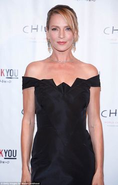 Gorgeous: The 45-year-old actress had her blonde locks pulled back and natural, complimentary make-up on her face