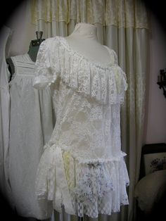 Shabby White Lace Top of soft romantic layers of lace by Dede of  TatteredDelicates,