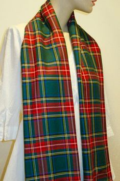 Green Stewart Tartan Plaid Scarf~Green Red Plaid Fringe Scarf~ Tartan Plaid Scarf, Red Plaid, Royal Stewart Tartan, Long Fringes, Fringe Scarf, Long Scarf, Red Green, Scarves, How To Wear