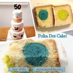 Sew White Polka Dot birthday cake, 50th birthday cake, Polaroid birthday cake, photographs birthday cake