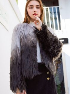 f01812057fe Vinfemass Thick Gradient Color Short Faux Rabbit Fur Coat