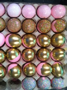 pink and gold eggs for Easter