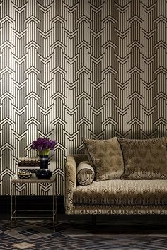 Metropolis wallpaper photo of Limelight Velvet Gold 211 in situ