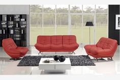Red Leather Couch Sofa Loveseat Swivel Chair Tufted Modern Living Set