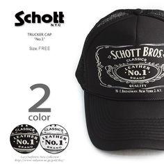 """【メンズ キャップ メッシュキャップ】Schott/TRUCKER CAP """"No.1"""" #3149010(メンズ/キャップ/メッシュキャップ/schott/ショット/バイカー/ブラック/ホワイト)【楽天市場】"""