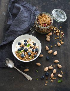 Oat granola with fresh blueberries by sonyakamoz on Creative Market