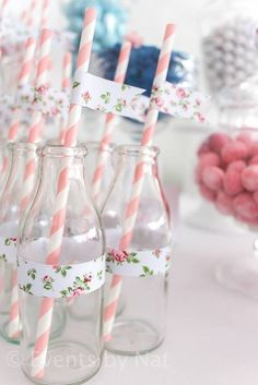 Drinking glasses at a Shabby Chic First Birthday Party with Lots of REALLY CUTE IDEAS via Kara's Party Ideas Kara Allen KarasPartyIdeas.com