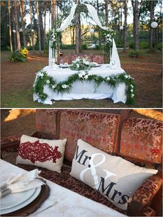 Cute sweetheart table with Mr. and Mrs. pillow @weddingchicks