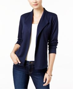 Knit Blazer in Deep Black and Industrial Blue