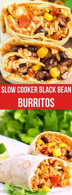 Slow Cooker Black Bean Burritos and rice are easy and healthy with lots of texture. It's a vegetarian and vegan black bean burritos meal. Just add avocados and black olives to compliment! #blackbeanburritosrecipe #veganblackbeanburritos #vegetarianblackbeanburritos #riceandblackbeanburritos #crockpotblackbeanburritos #slowcookerblackbeanburritos #healthyblackbeanburritos Brunch Recipes, Easy Dinner Recipes, Meat Recipes, Slow Cooker Recipes, Mexican Food Recipes, Crockpot Recipes, Cooking Recipes, Mexican Dishes, Cooking Ideas