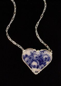 antique flow blue necklace made from a broken china plate by Dishfunctional Designs