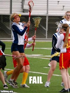 "Lacrosse fail. ""That is why you have face masks... Now catch the ball"""