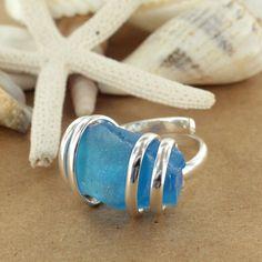 Sadie Green's Aqua Sea Glass Adjustable Ring