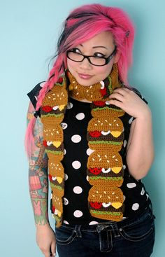 CheeseBurger Scarf Made to Order by TwinkieChan on Etsy