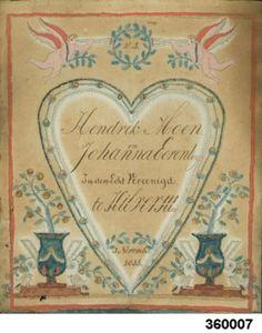 Prikprent  1833  Papier  Twee engeltjes en twee vazen met bloemranken en vogeltjes. In het hart de tekst: W:B. / Hendrik Moen en Johanna Eerenberg In den Echt Vereenigd te Hilversum / 3 november 1833  20,2 x 24  237-360007  Collectie Museum Hilversum