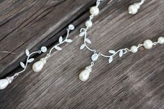 #bridal #jewelry | Simple Branch Swarovski Crystal and Pearl Bridal Necklace and Earrings Set. $64.00, via Etsy.