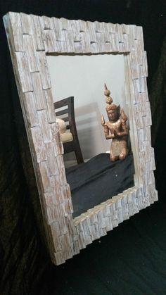 Hand Carved Teak Wood Mosaic Mirror Whitewash Finish Timber 80cm x 60cm Rustic