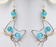 Wire wrapped techniques may be a little difficult for beginners to handle, today I will show you an easy way to make adorable wire cat earrings with cat eye beads using simple wire wrapped skills.