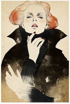 Ilustration, emotion, lady in black