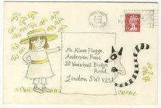 During his 30-year career as a children's book publisher, Klaus Flugge received almost 100 beautifully illustrated envelopes by artists -- this by Emma Chichester-Clark