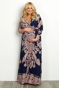 Navy Print Sash Tie Plus Size Maternity/Nursing Maxi Dress