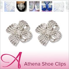 Channel your inner Greek Goddess with these classic Athena shoe clips!   Shop here: https://www.absolutelyaudrey.com/Shoe-Clips-Bridal-rhinestone-crystal-flower-Athena-p/sc0010.htm  greek goddess athena shoe accessories beautiful lovely rhinestone wedding bridal shoes prom shoes
