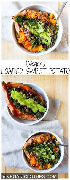 The ultimate vegan loaded sweet potato - packed with kale, black beans, and topped off with a homemade green goddess dressing. – I Quit Sugar