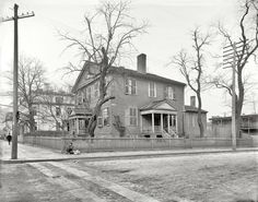 """Richmond, Virginia, circa """"Home of John Marshall,"""" Chief Justice, federalist and noted authority on what's in that basket probably delicious food. inch glass negative by William Henry Jackson. Old Photos, Vintage Photos, Shorpy Historical Photos, Henry Jackson, Confederate States Of America, Virginia Homes, Capitol Building, Richmond Virginia, Old Buildings"""