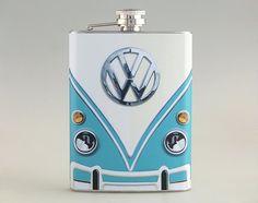 Classic Van Blue Volkswagen Liquor Hip Flask Tipsy by kanlaya3225