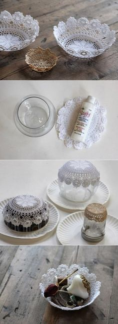 DIY Easy Doily Bowl | DIY & Crafts Tutorials - no instructions