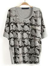 Grey Batwing Sleeve Character Print Zipper T-Shirt #SheInside
