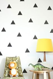 Black triangle wall decals placed on white wall behind desk with a yellow lamp and dinosaur toy on top and a stuffed cat doll sitting on a upholstered chair. Interior Paint Colors, Interior Walls, Interior Painting, Interior Design, Painting Doors, Painting Walls, Painting Tips, Luxury Interior, Painting Techniques