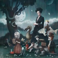 Tom Bagshaw - a dodo birds and a fish with rider, it's like a cross between John Tenniel and James C Christensen