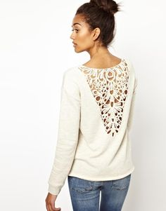 River Island Long Sleeve Lace Back Sweat