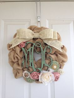 Burlap Wreath with Monogram Initials by DelaysDivineDesigns, $65.00
