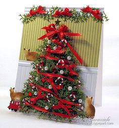 Christmas Card - Essential products for this project can be found on Crafting.co.uk - for all your crafting needs. - Over-The-Top Christmas Tree Scene